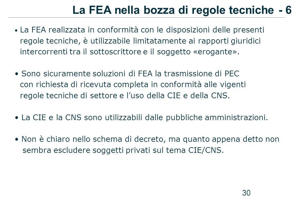 La FEA nella bozza di regole tecniche - 6