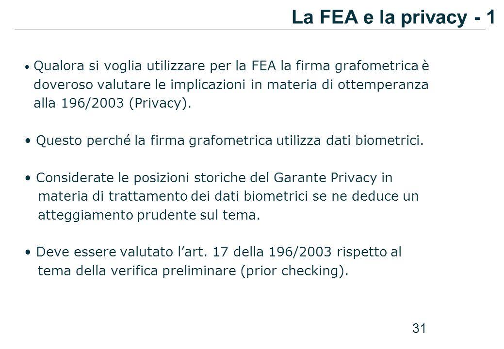 La FEA e la privacy - 1 Qualora si voglia utilizzare per la FEA la firma grafometrica è.