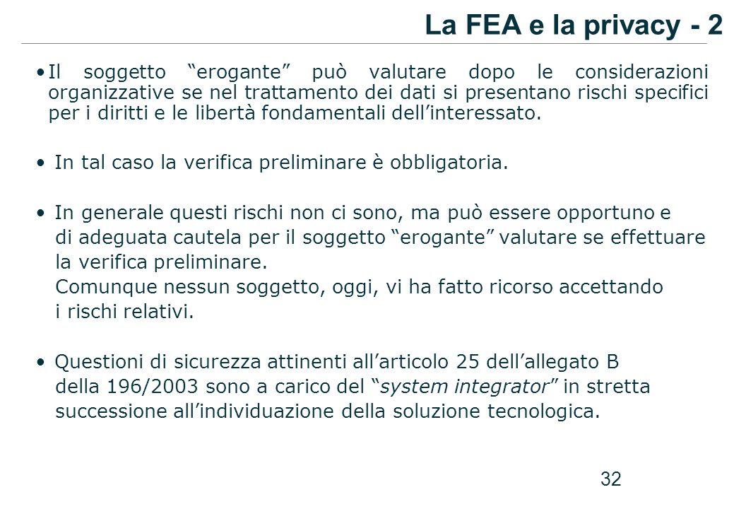 La FEA e la privacy - 2