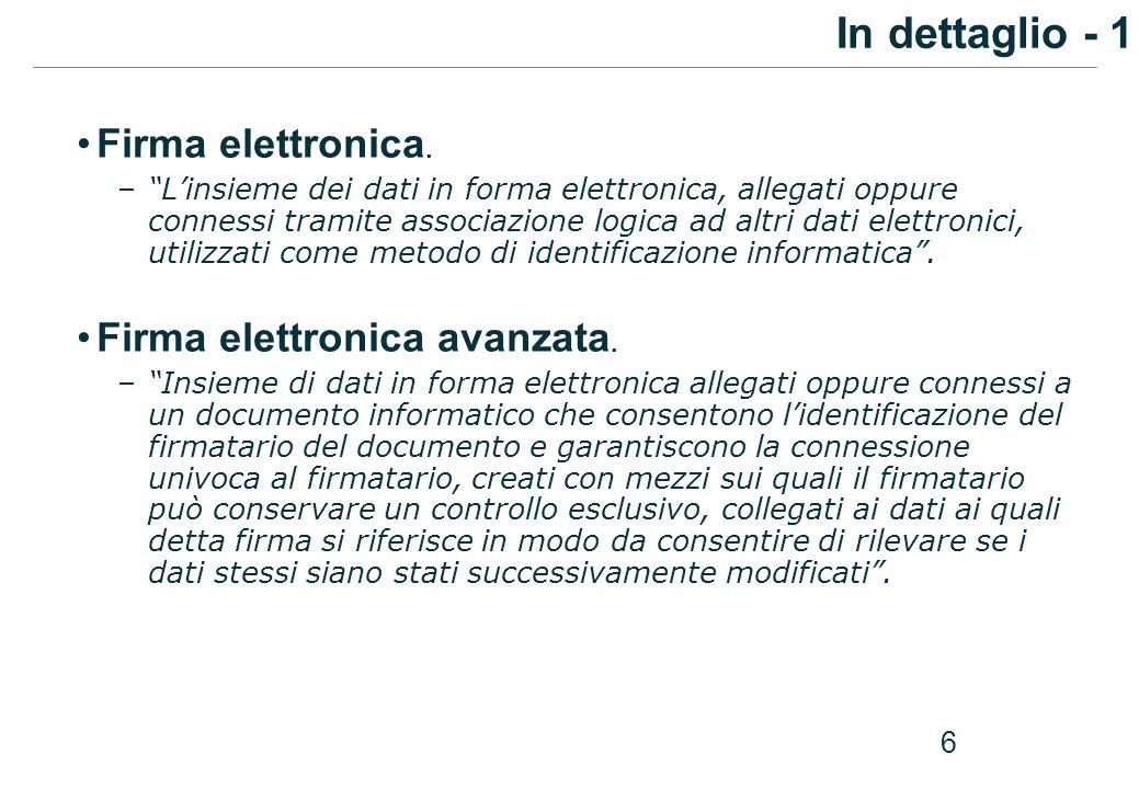 In dettaglio - 1 Firma elettronica. Firma elettronica avanzata.