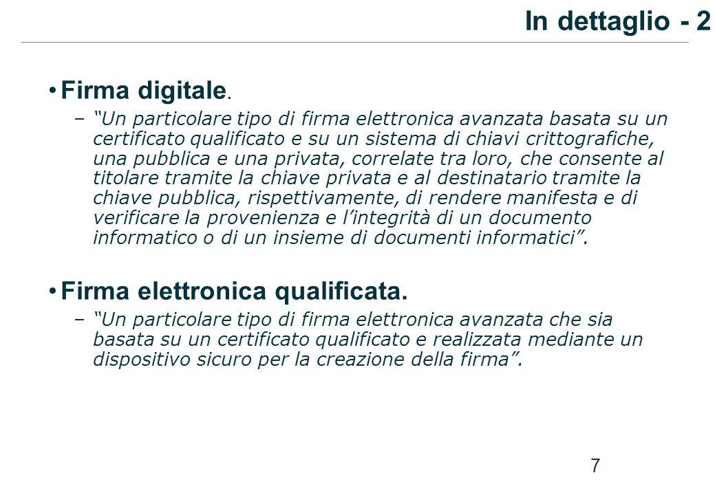 In dettaglio - 2 Firma digitale. Firma elettronica qualificata.
