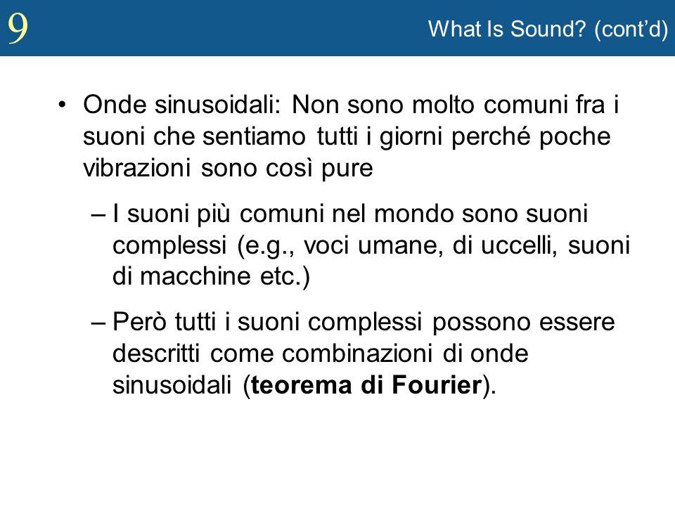 What Is Sound (cont'd) Onde sinusoidali: Non sono molto comuni fra i suoni che sentiamo tutti i giorni perché poche vibrazioni sono così pure.