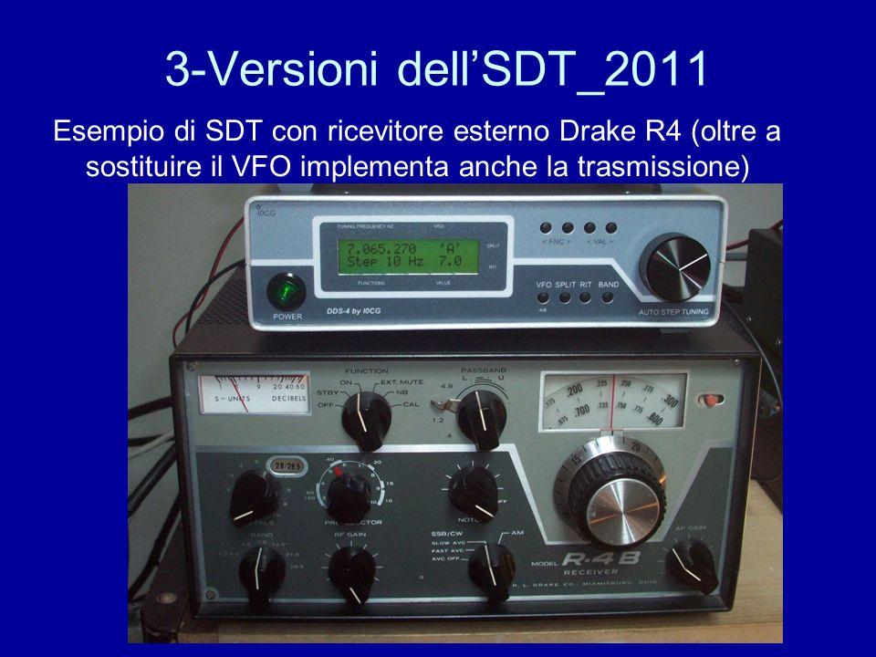 3-Versioni dell'SDT_2011 Esempio di SDT con ricevitore esterno Drake R4 (oltre a sostituire il VFO implementa anche la trasmissione)