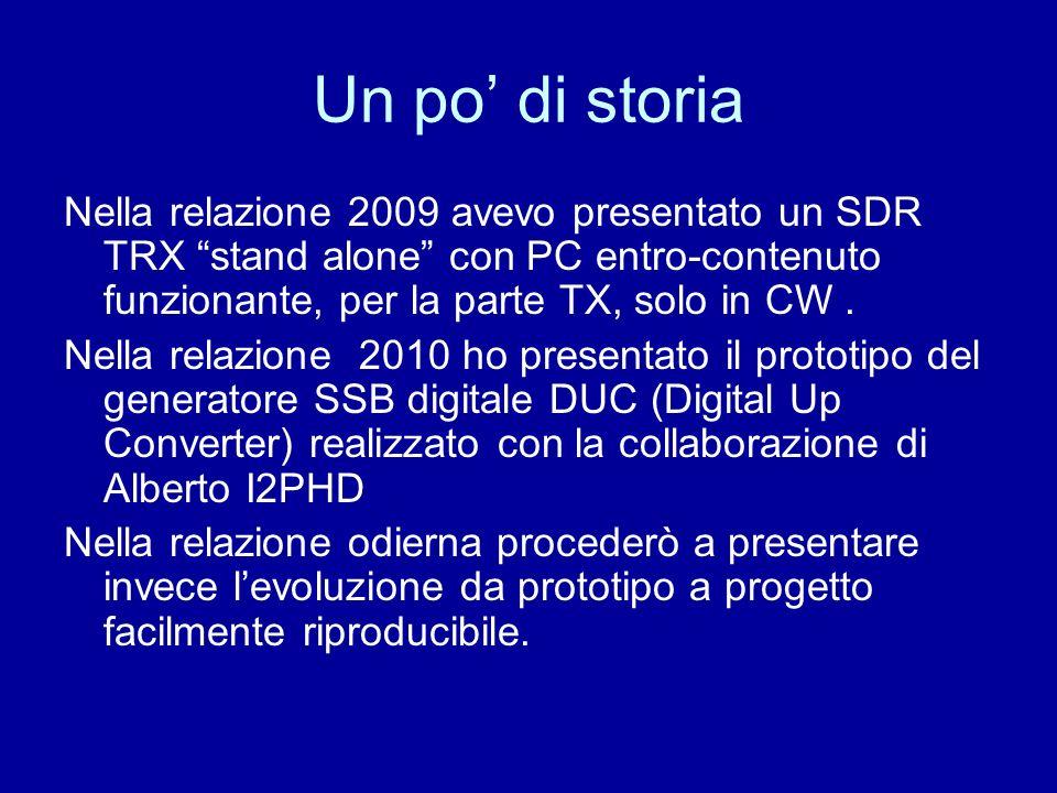 Un po' di storia Nella relazione 2009 avevo presentato un SDR TRX stand alone con PC entro-contenuto funzionante, per la parte TX, solo in CW .