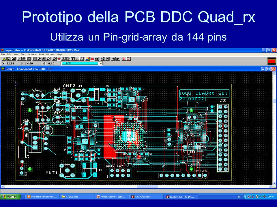 Prototipo della PCB DDC Quad_rx Utilizza un Pin-grid-array da 144 pins
