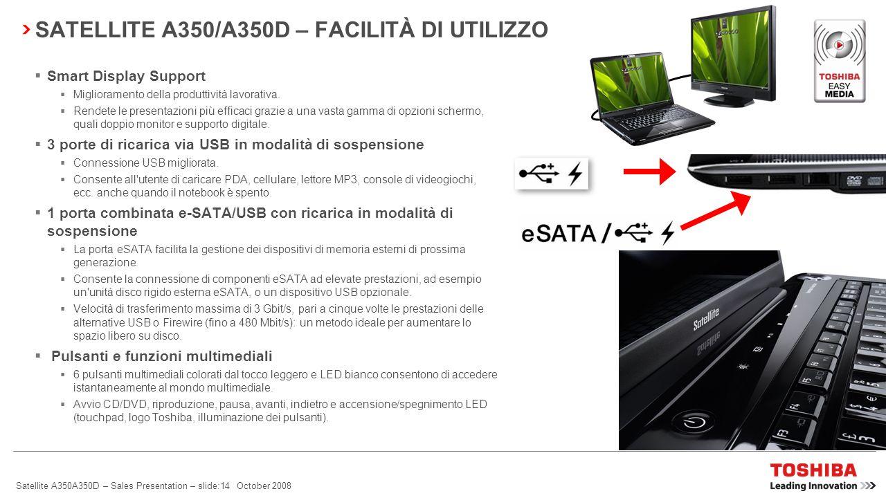 SATELLITE A350/A350D – FACILITÀ DI UTILIZZO