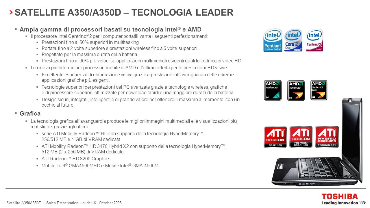SATELLITE A350/A350D – TECNOLOGIA LEADER