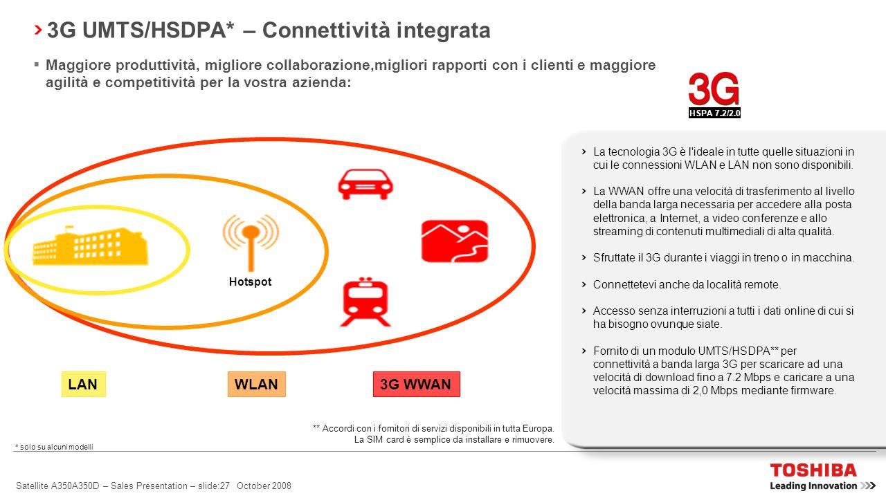 3G UMTS/HSDPA* – Connettività integrata