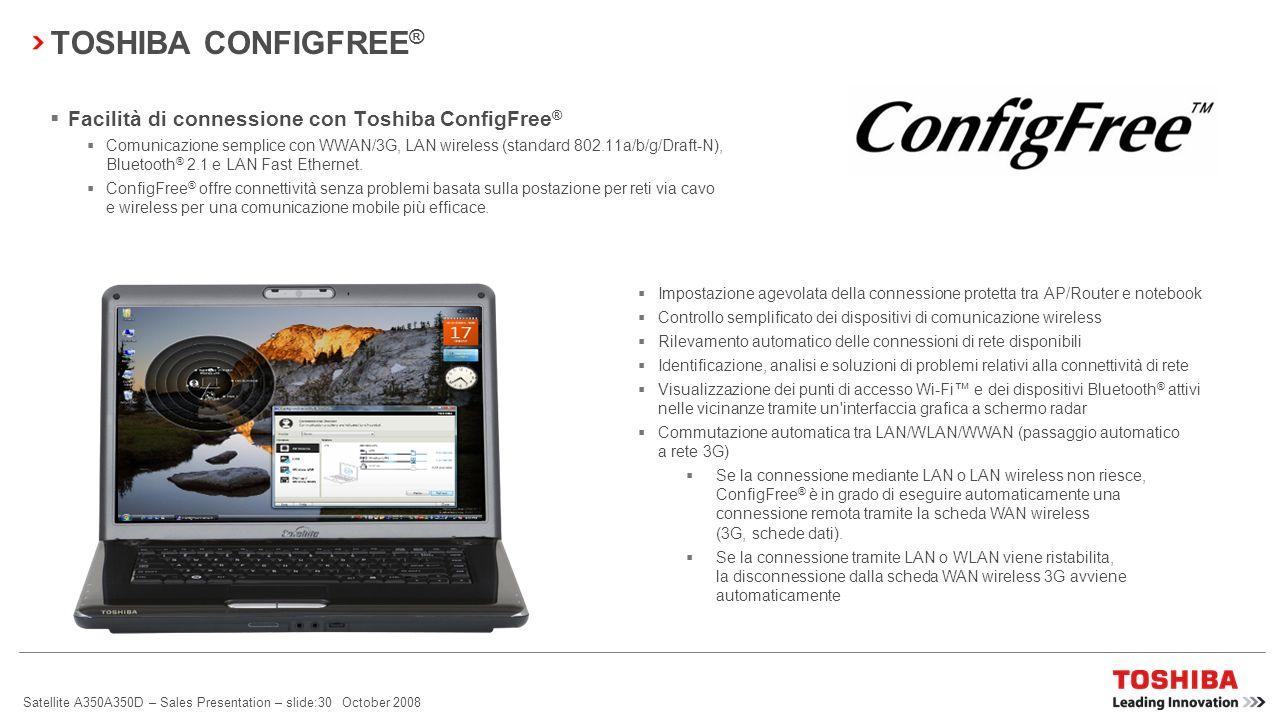 TOSHIBA CONFIGFREE® Facilità di connessione con Toshiba ConfigFree®