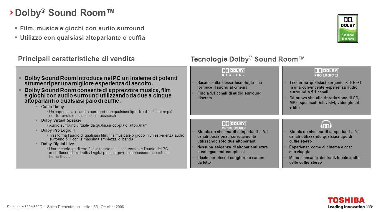 Dolby® Sound Room™ Principali caratteristiche di vendita