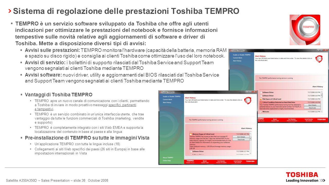 Sistema di regolazione delle prestazioni Toshiba TEMPRO