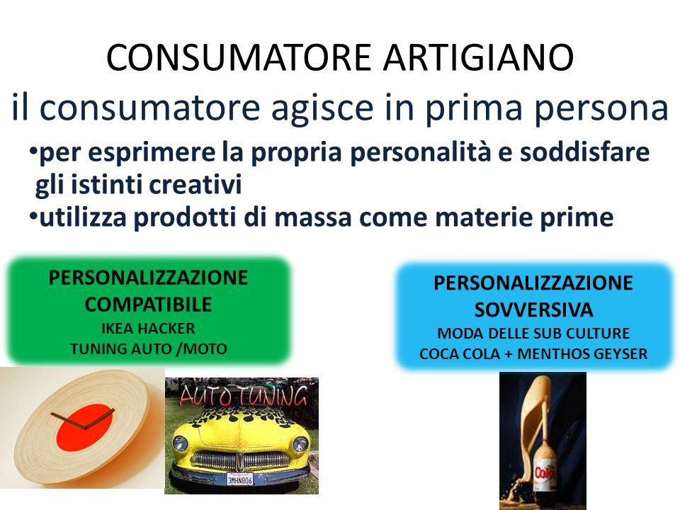 CONSUMATORE ARTIGIANO il consumatore agisce in prima persona