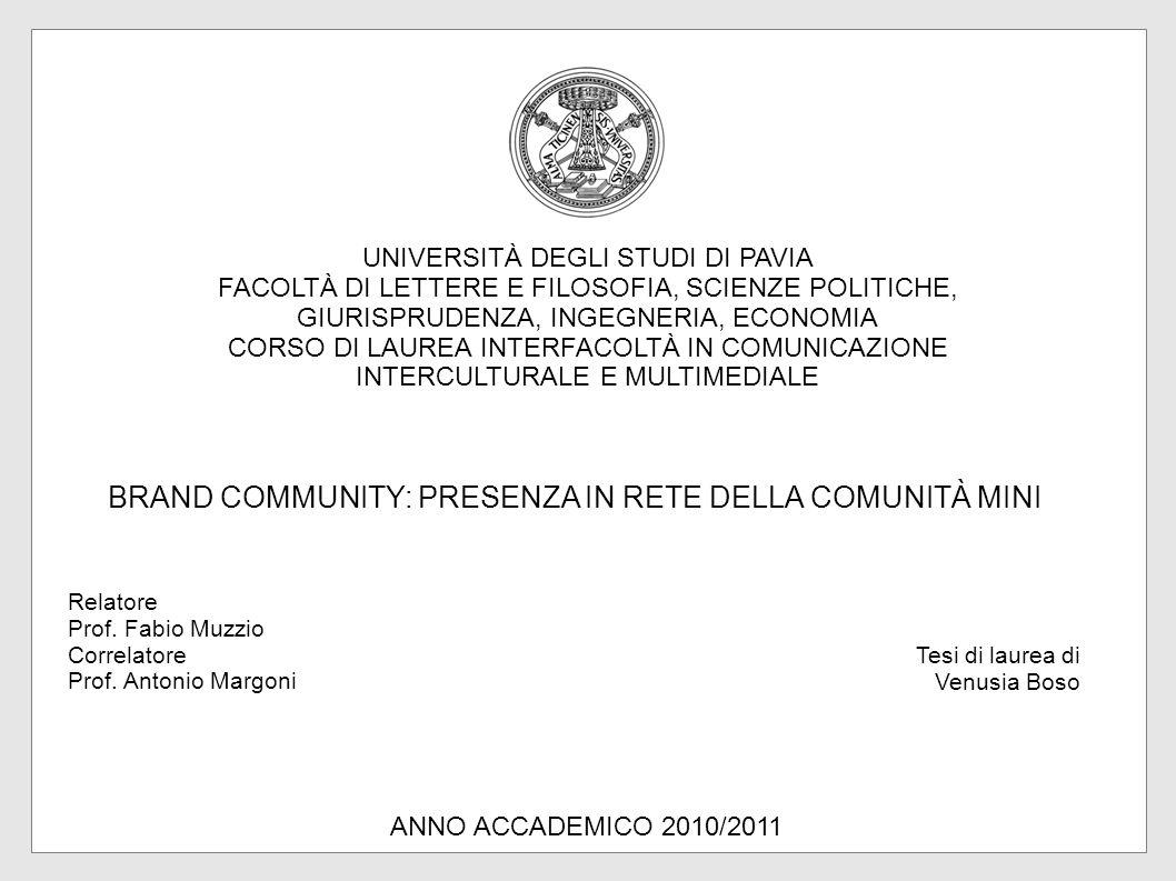 BRAND COMMUNITY: PRESENZA IN RETE DELLA COMUNITÀ MINI