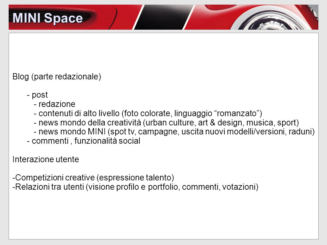 MINI Space Blog (parte redazionale) - post - redazione