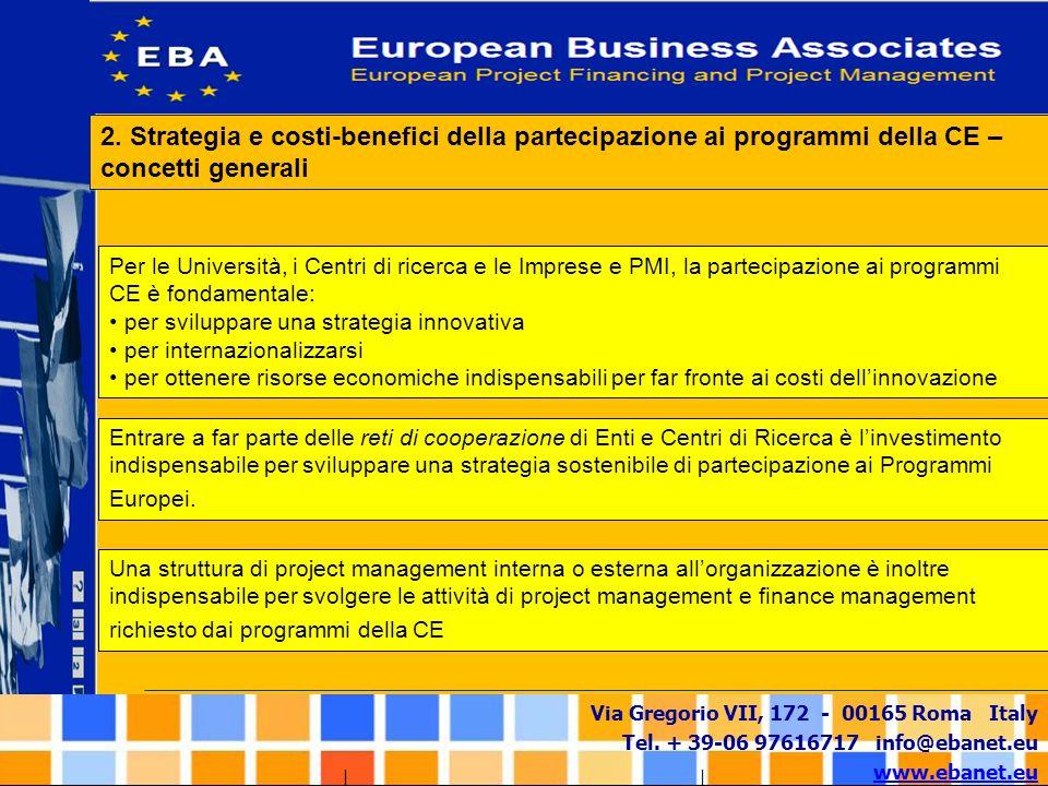 2. Strategia e costi-benefici della partecipazione ai programmi della CE – concetti generali