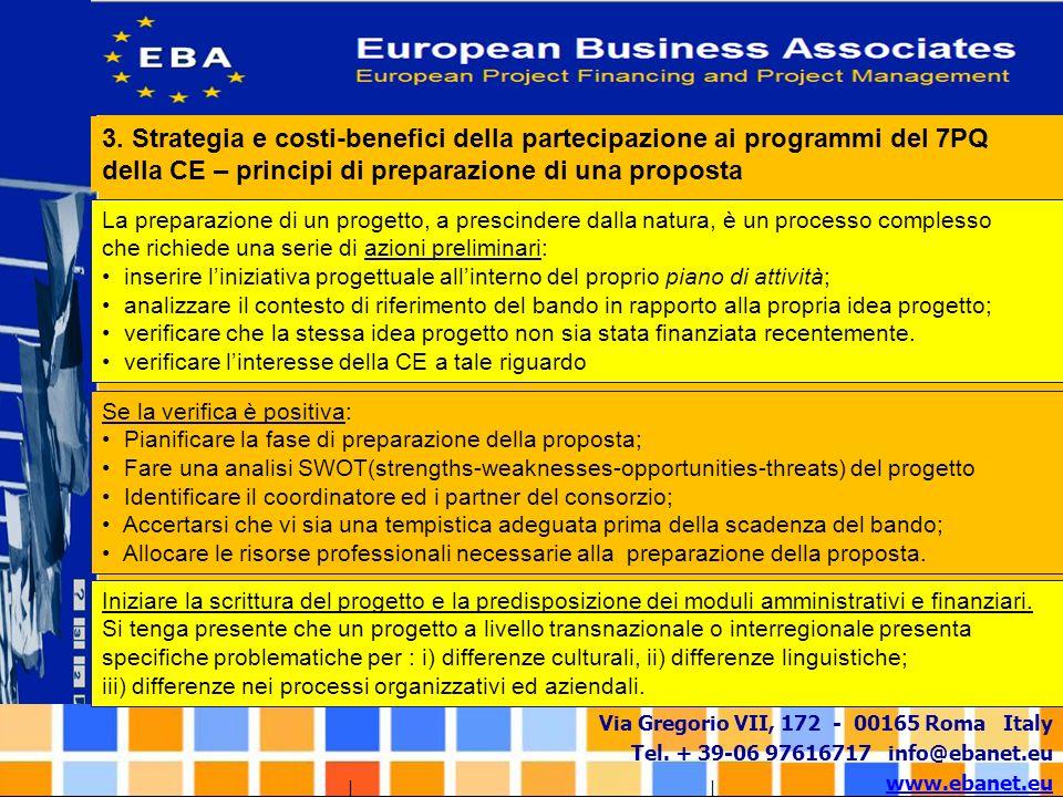 3. Strategia e costi-benefici della partecipazione ai programmi del 7PQ della CE – principi di preparazione di una proposta