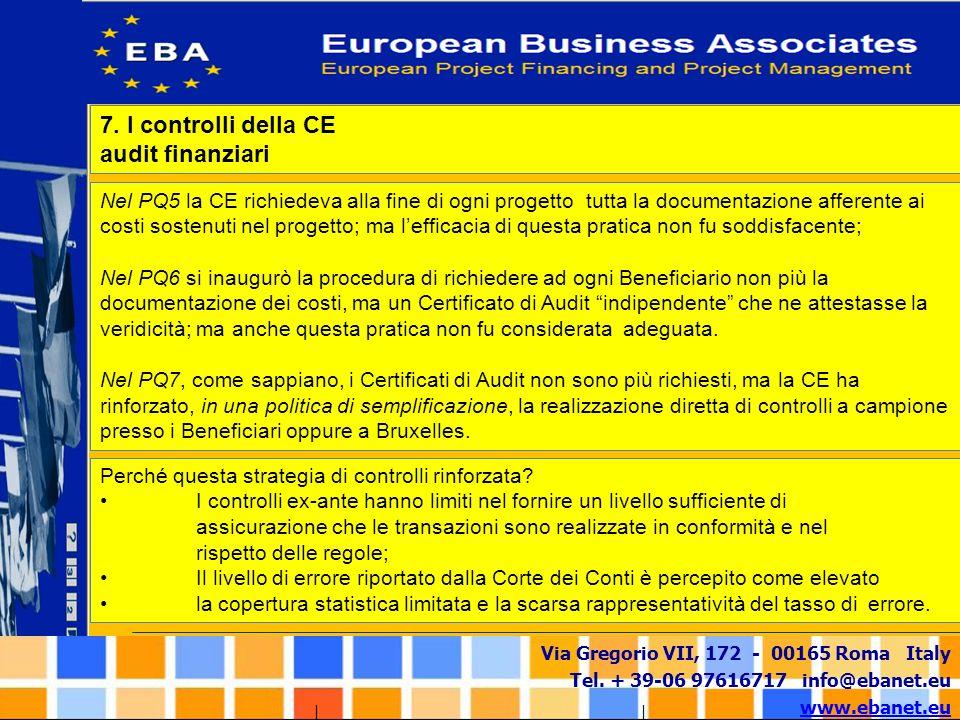 7. I controlli della CE audit finanziari