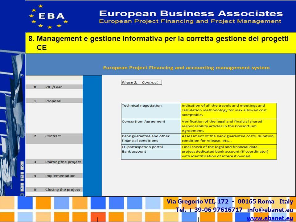 8. Management e gestione informativa per la corretta gestione dei progetti