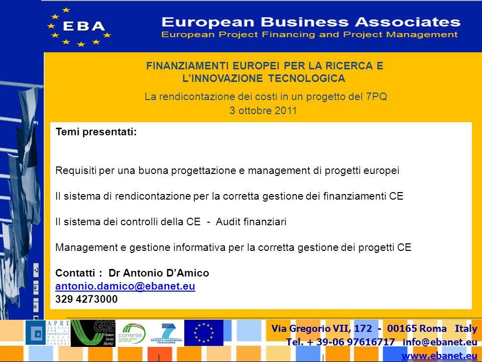FINANZIAMENTI EUROPEI PER LA RICERCA E