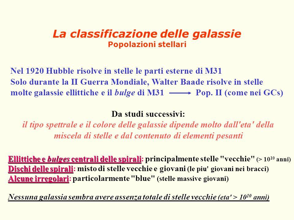 La classificazione delle galassie Popolazioni stellari