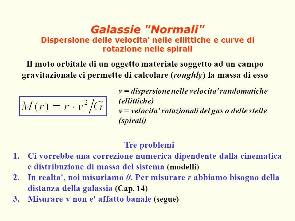 Galassie Normali Dispersione delle velocita nelle ellittiche e curve di rotazione nelle spirali