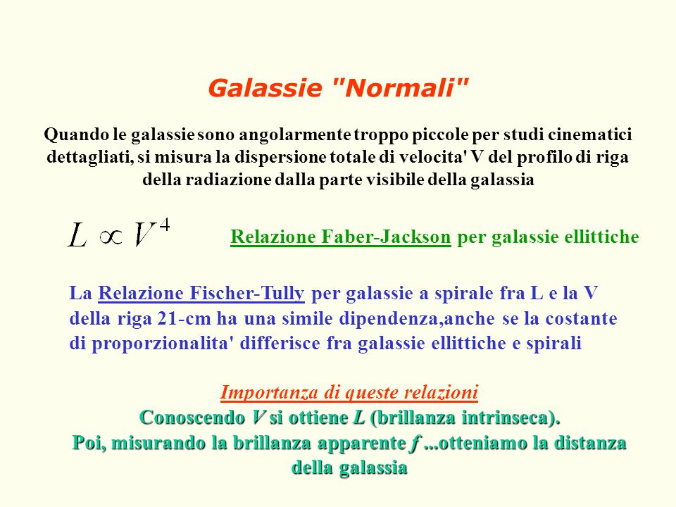 Galassie Normali Relazione Faber-Jackson per galassie ellittiche