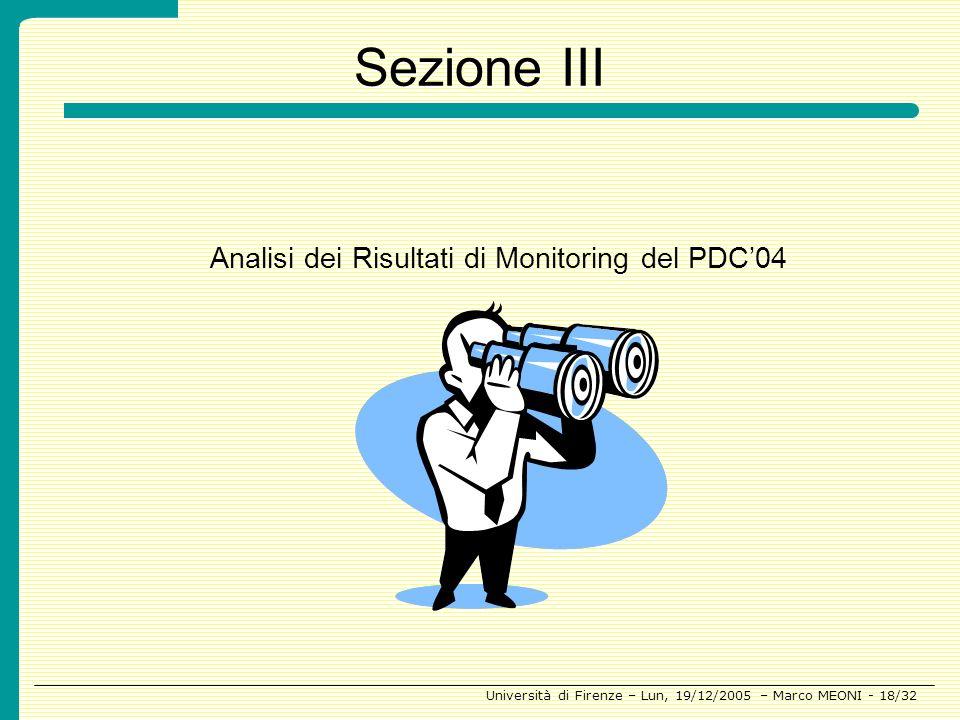 Sezione III Analisi dei Risultati di Monitoring del PDC'04