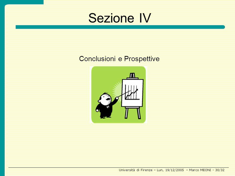 Sezione IV Conclusioni e Prospettive