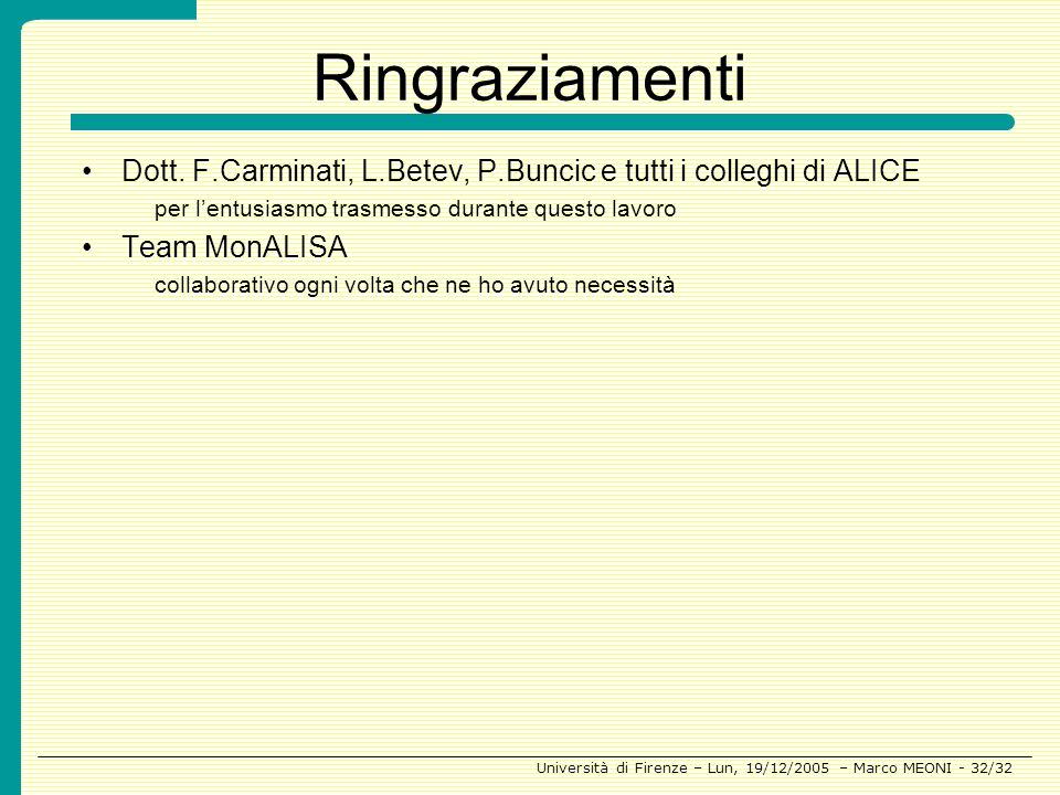 Ringraziamenti Dott. F.Carminati, L.Betev, P.Buncic e tutti i colleghi di ALICE. per l'entusiasmo trasmesso durante questo lavoro.