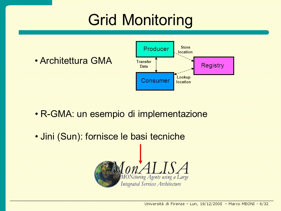 Grid Monitoring Architettura GMA R-GMA: un esempio di implementazione