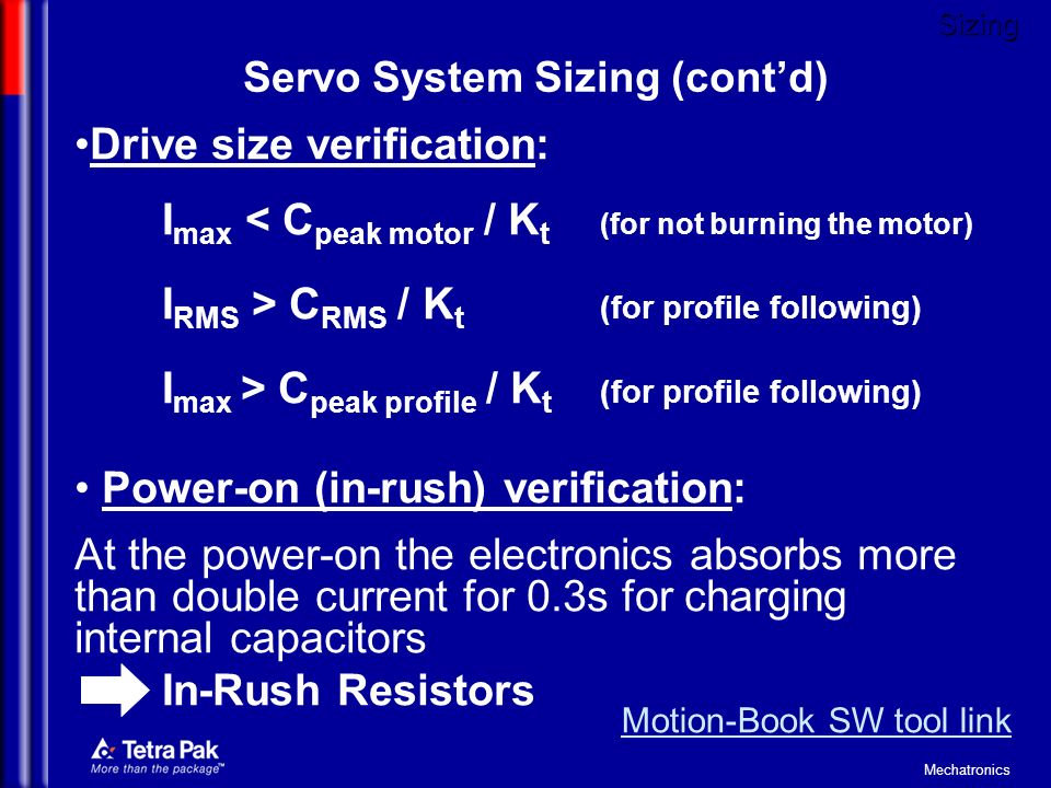 Servo System Sizing (cont'd)
