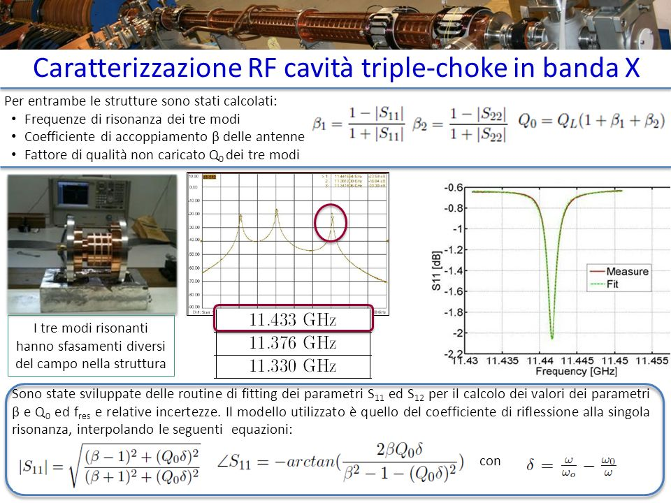 Caratterizzazione RF cavità triple-choke in banda X