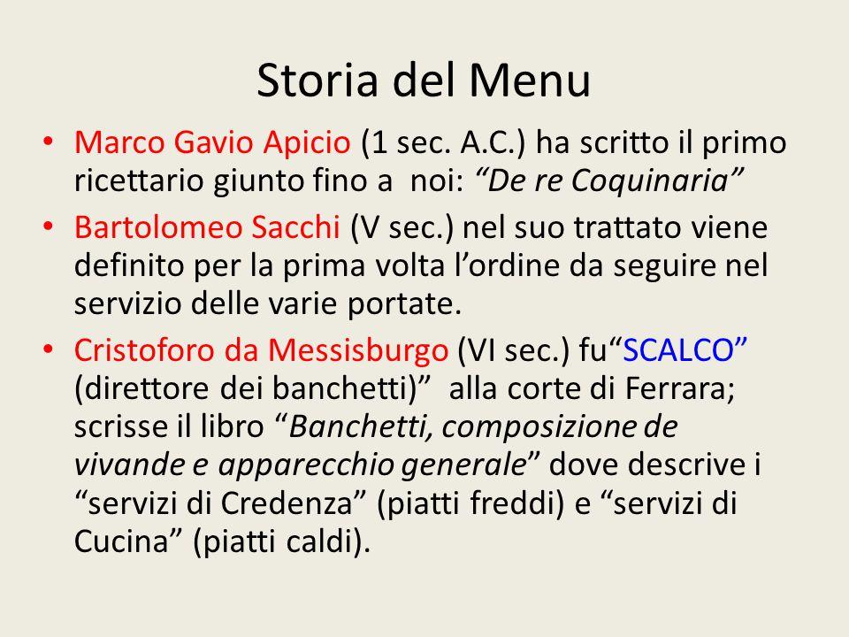 Storia del Menu Marco Gavio Apicio (1 sec. A.C.) ha scritto il primo ricettario giunto fino a noi: De re Coquinaria