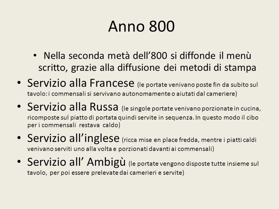 Anno 800 Nella seconda metà dell'800 si diffonde il menù scritto, grazie alla diffusione dei metodi di stampa.