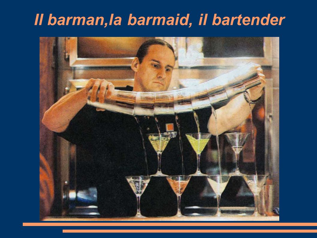 Il barman,la barmaid, il bartender
