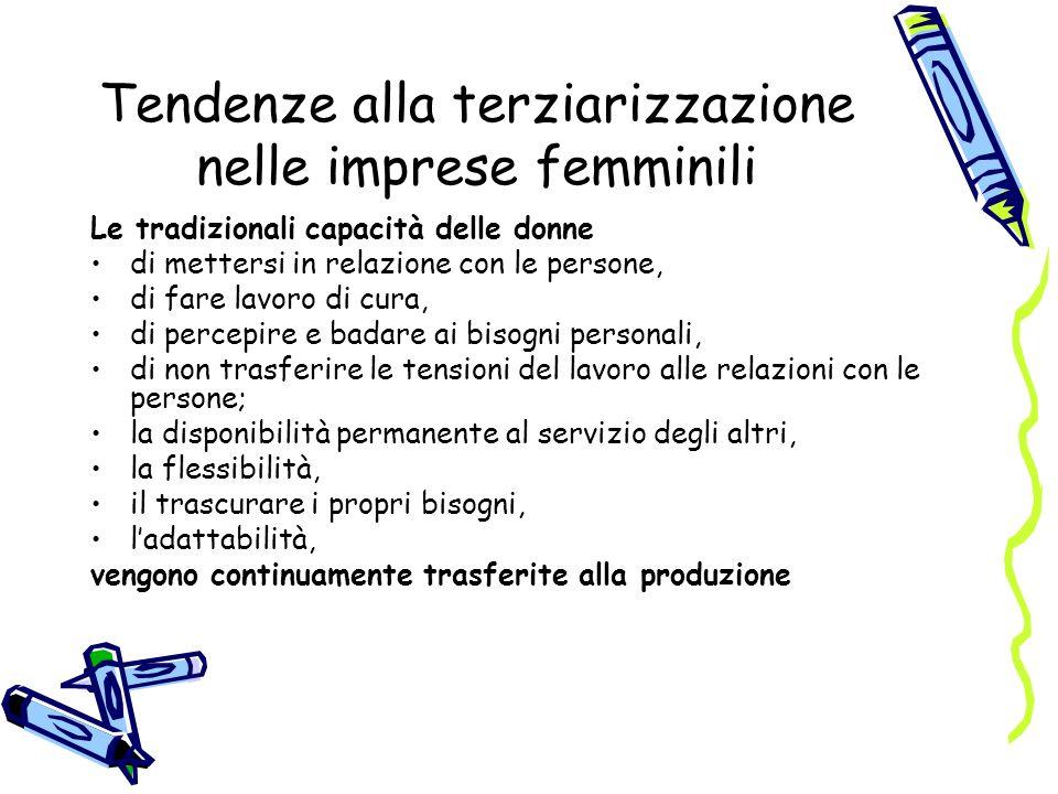 Tendenze alla terziarizzazione nelle imprese femminili