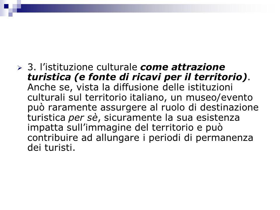 3. l'istituzione culturale come attrazione turistica (e fonte di ricavi per il territorio).