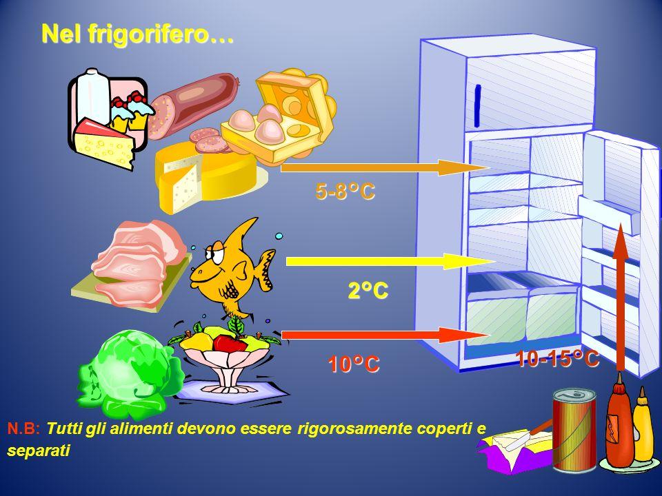 Nel frigorifero… 5-8°C 2°C 10-15°C 10°C