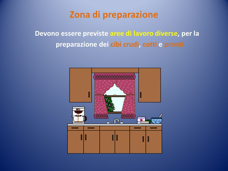 Zona di preparazione Devono essere previste aree di lavoro diverse, per la preparazione dei cibi crudi, cotti e pronti.