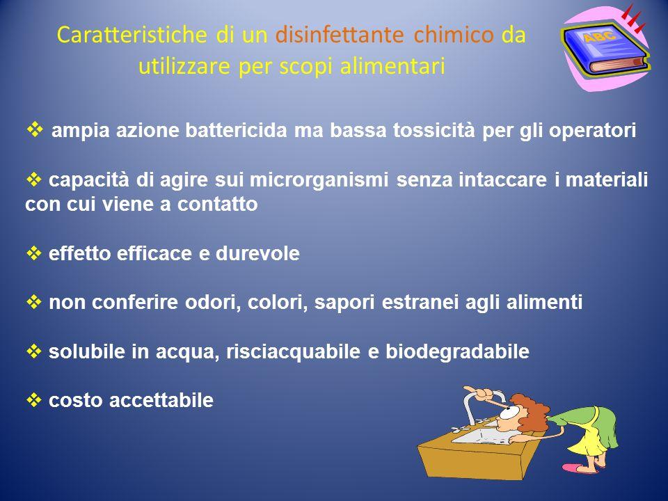 Caratteristiche di un disinfettante chimico da utilizzare per scopi alimentari