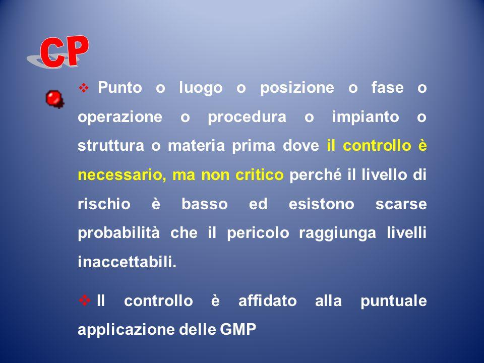 CP Il controllo è affidato alla puntuale applicazione delle GMP