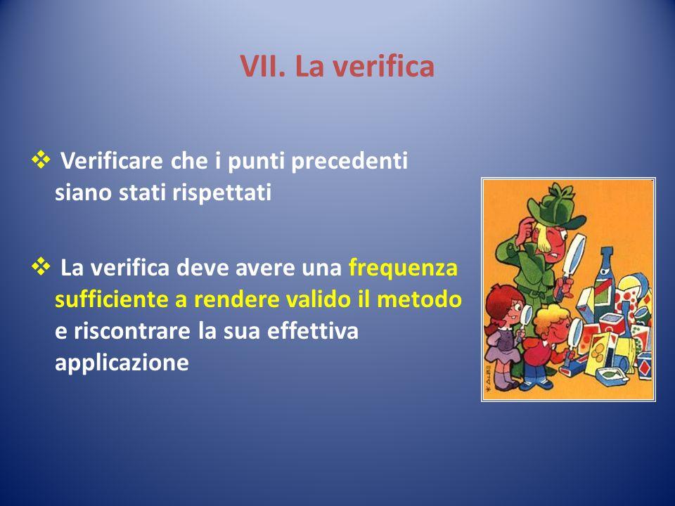 VII. La verifica Verificare che i punti precedenti siano stati rispettati.