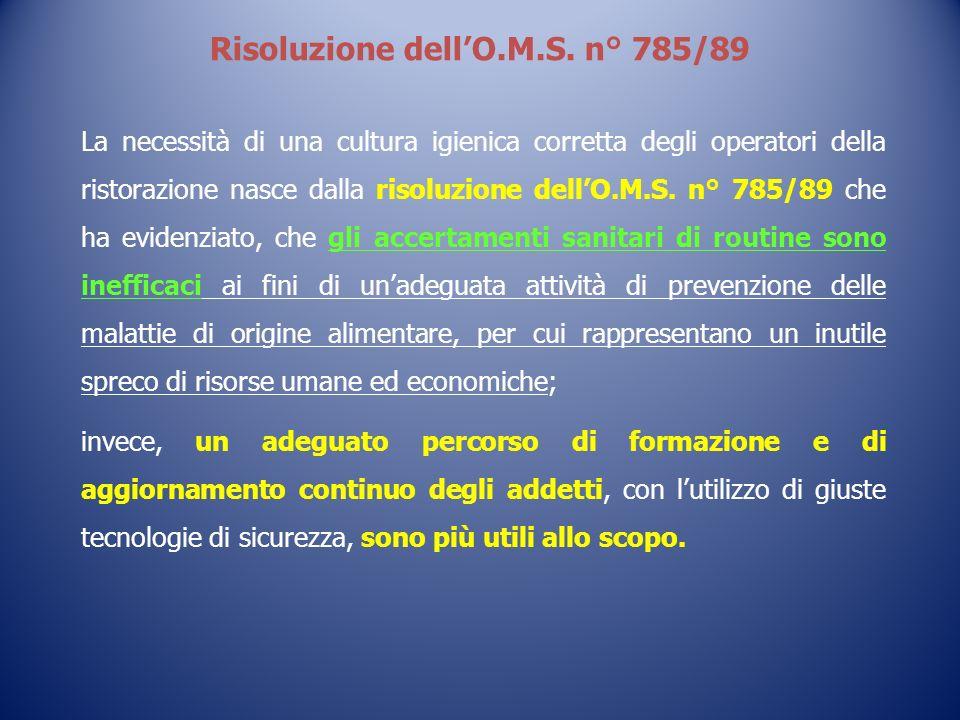 Risoluzione dell'O.M.S. n° 785/89