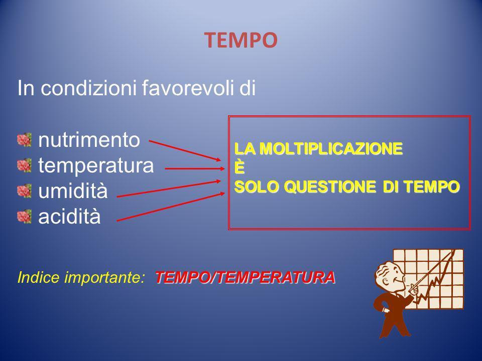 TEMPO In condizioni favorevoli di nutrimento temperatura umidità