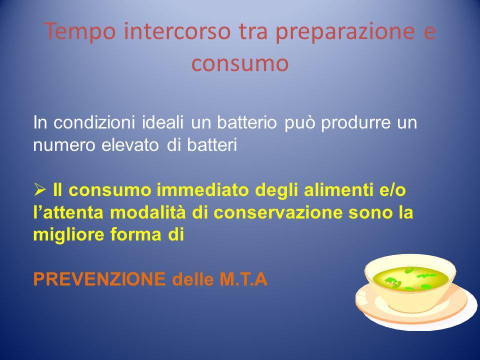 Tempo intercorso tra preparazione e consumo