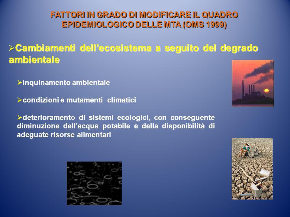 Cambiamenti dell'ecosistema a seguito del degrado ambientale