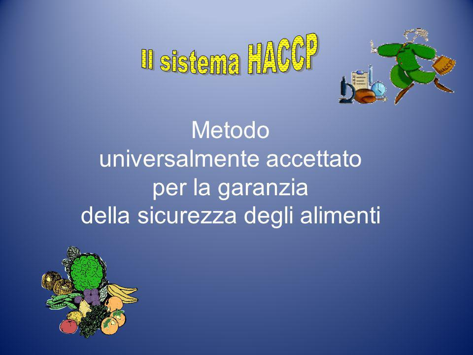 Il sistema HACCP Metodo universalmente accettato per la garanzia della sicurezza degli alimenti