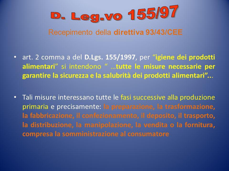 D. Leg.vo 155/97 Recepimento della direttiva 93/43/CEE