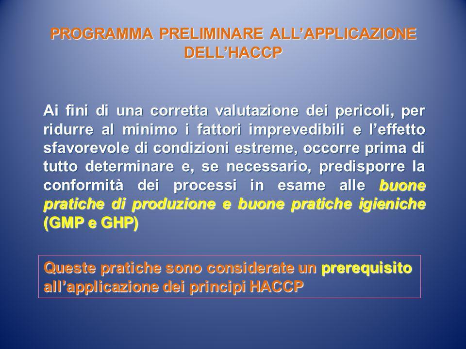 PROGRAMMA PRELIMINARE ALL'APPLICAZIONE DELL'HACCP