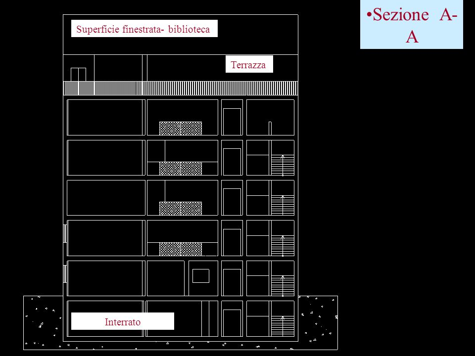 Sezione A-A Superficie finestrata- biblioteca Terrazza Interrato
